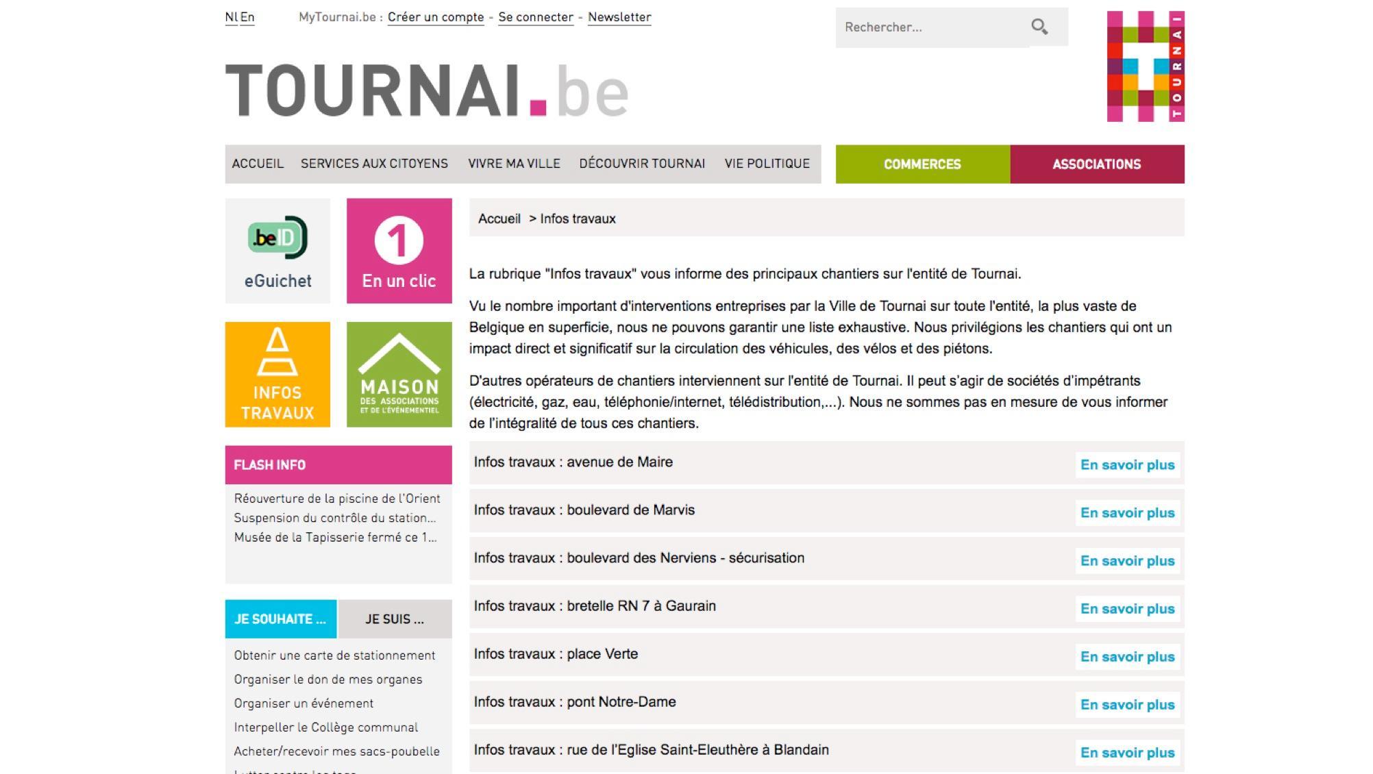 """Le site internet de la ville de Tournai lance une rubrique """"Infos Travaux"""""""