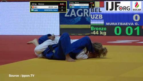 Judo - Combats de Loïs Petit aux championnats du monde de Zagreb