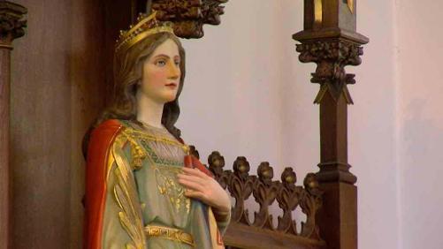 La statue de Sainte-Barbe a retrouvé sa place à l'église