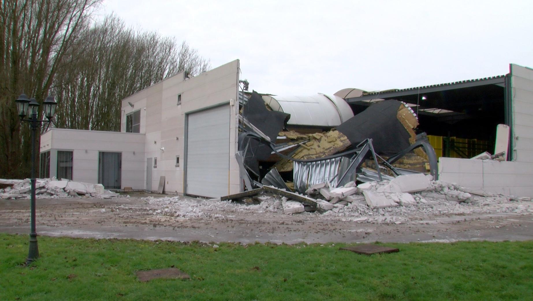 La toiture d'un bâtiment agricole n'a pas tenu le coup face à la rafale de vent