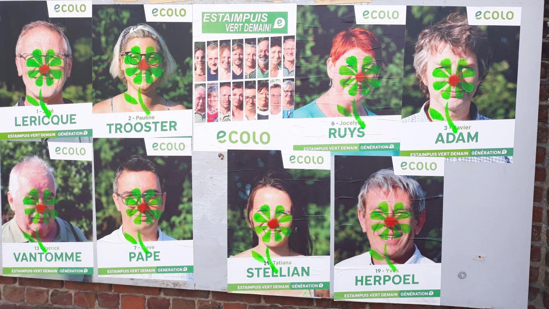 Ecolo ajoute des fleurs aux nez rouges des affiches électorales