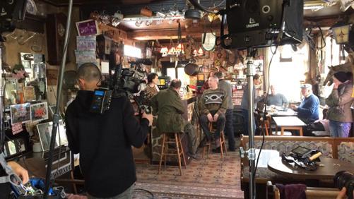"""Tournage d'un court-métrage au café """"Chez Gina"""""""